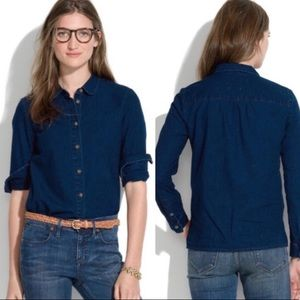 Madewell indigo blue chambray button down collar